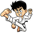 Vector illustration of Boy Karate kick