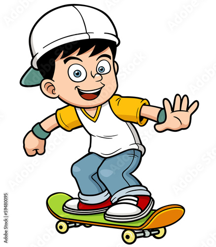 Vector illustration of Boy skating