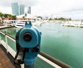 telescope on Miami skyline