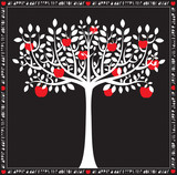 Stylized White on Black Apple Tree