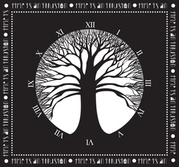 Monochrome Oak Tree, Concpet Illustration