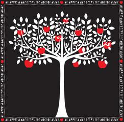 Stylized White on Black Apple Tree