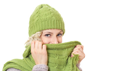 Smile happy girl covered her face with scarf
