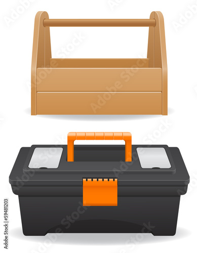 wooden and plastic tool box vector illustration