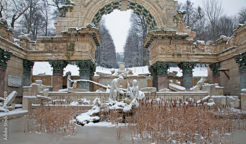 Vienna - Ruins in gardens of Schonbrunn palace in winter