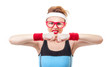 Funny fitness woman ready for gymnastick