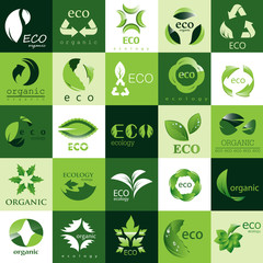 Ecology Icons Set - Isolated On Background - Vector illustration