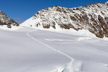 Walking people in the Swiss Alps