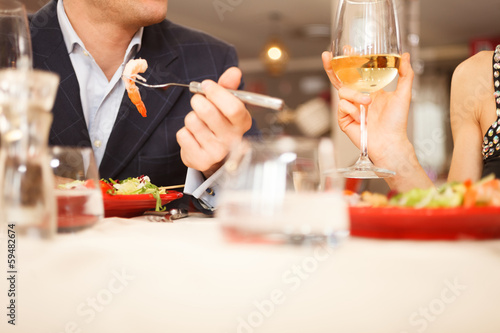 canvas print picture Couple having dinner
