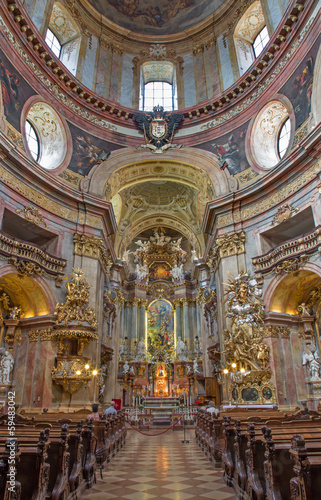 Vienna - Presbytery and nave of baroque st. Peters church