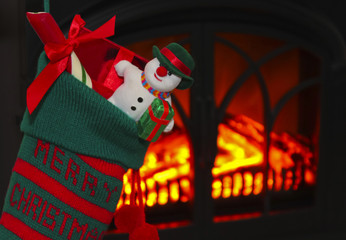 A Snowman in a Stocking at Christmas