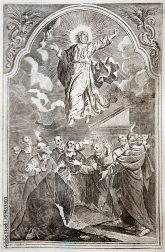 Jesus ascension. Lithography print in Missale romanum  from 1727