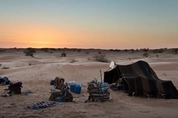 Tente bédouine dans le désert - Tunisie