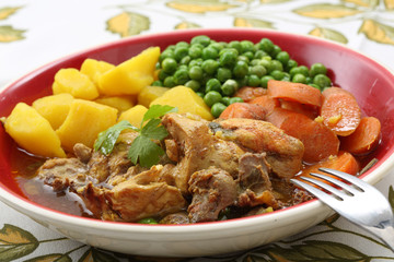 traditional portuguese chicken stew - mediterranean diet