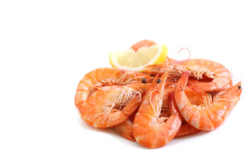 fresh boiled shrimps isolated on white