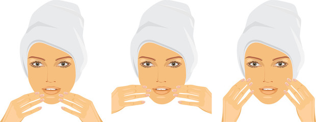 Woman making face massage
