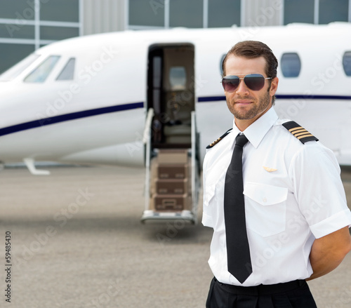 Confident Pilot Wearing Sunglasses