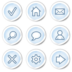 Basic web icons, light blue stickers