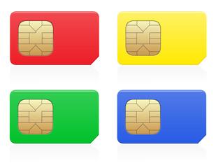 sim card colour vector illustration