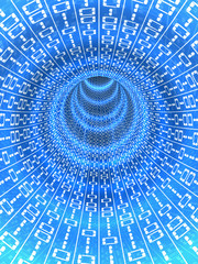 Digital data flowing