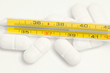 thermometer with pills