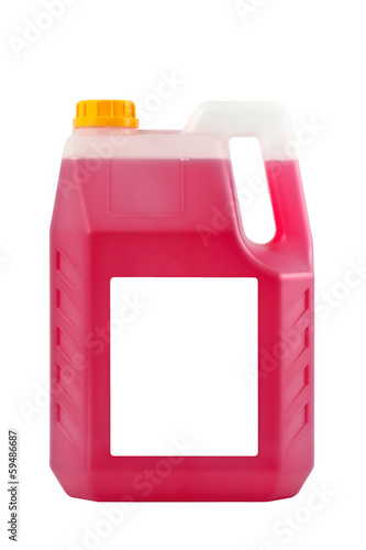 Transparent detergent plastic bottle isolated on gray, with blan