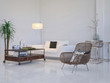 Modern living room interior with white couch and plant
