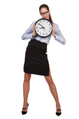 Stylish woman with a round clock in hands