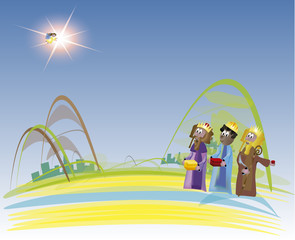 Three Kings coming to Bethlehem