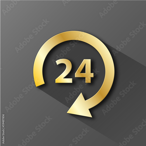 """24 HOUR"" Icon (customer service opening hours button symbol)"