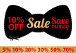 Sale Coupon, label (banner, tag) red template. Bow tie shape