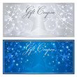 Gift certificate, Voucher, Coupon background. Blue stars