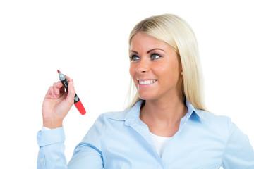 businessfrau schreibt mit rotstift