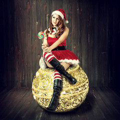 sexy christmas woman in santa claus clothes