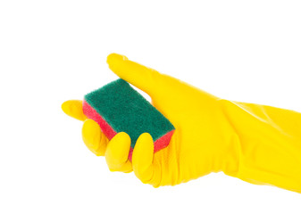 Hand in rubber glove holding red cleaning sponge