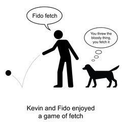 Kevin plays fetch with Fido cartoon