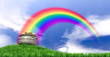 Pot Of Gold And Rainbow On Grassy Hill - 59489012