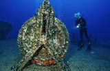 Italy, Tyrrhenian sea, wreck diving, sunken ship