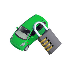 Green small car and combination lock