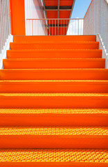 Detail of orange steel stairway