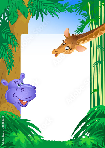 hippopotamus and giraffe on background frame
