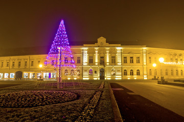 Koprivnica night street christmas scene