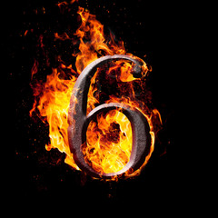 Numbers and symbols on fire - 6