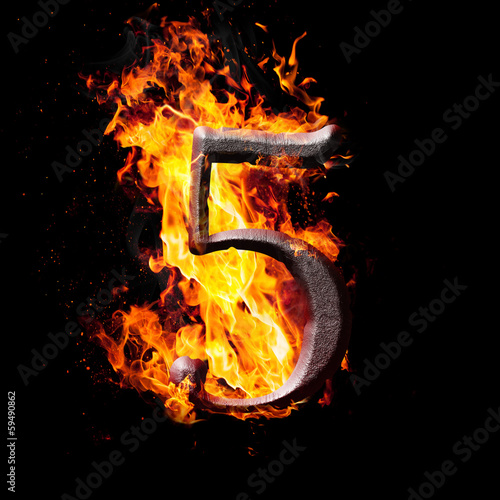Numbers and symbols on fire - 5