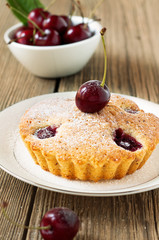 Homemade cherry pie on a white plate
