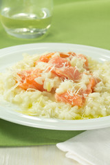 Salmon and leek risotto