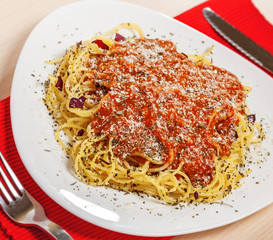 Italian food, Pasta with Bolognese and parmesan