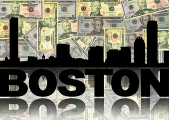 Boston skyline reflected with dollars illustration