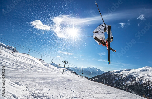 Foto op Canvas Wintersporten Perfect Jump