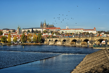 Prague Castle overlook with Vltava and Charles Bridge